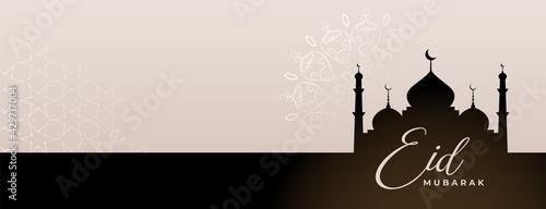 Fototapeta eid festival banner with mosque silhouette obraz