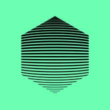 Pentagon With Deformed Horizontal Lines Texture In Black Color, Editable Vector