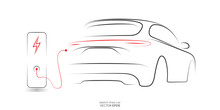 Electric SUV Car With Charging Station By Sketch Line Black And Red Colors Isolated On White Background. Vector Illustration.