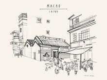 Vector Macao Postcard. Chinese Kuan Tai (Sam Kai Vui Kun) Temple. Old Town Historical Center. Macau (Macao), China, Asia. Artistic Drawing. Asian Travel Sketch. Vintage Hand Drawn Postcard, Poster