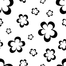 Seamless Pattern Of Black Flowers, Abstract Texture, Vector Floral Print. Seamless Simple Black White Abstract Pattern - For Paper, For Fabric, For Textiles, Flower Background, Minimalist Wallpaper.