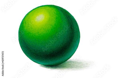 Fototapeta Handdrawn Pencil drawing of realistic green ball with shadows