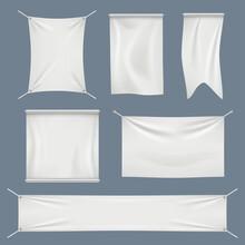 White Textile Flags Set