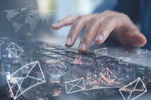 Email Sent, Electronics News Letter, Direct Marketing, Business Strategy And Technology Concept