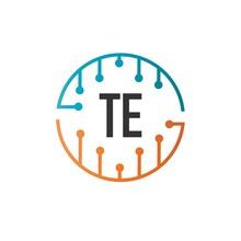 Initial Letter TE Future Technology Logo Template. Creative Logo Template