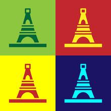 Pop Art Eiffel Tower Icon Isolated On Color Background. France Paris Landmark Symbol. Vector