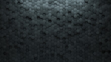 Polished, Hexagonal Wall Background With Tiles. 3D, Tile Wallpaper With Futuristic, Concrete Blocks. 3D Render