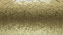 Gold Tiles Arranged To Create A Glossy Wall. Luxurious, 3D Background Formed From Triangular Blocks. 3D Render