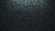 Semigloss Tiles Arranged To Create A Concrete Wall. 3D, Diamond Shaped Background Formed From Futuristic Blocks. 3D Render