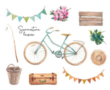 Watercolor Bike Ride Elements Set. Objects Isolated On White Background: Bicycle, Garlands, Basket, Wood Box, Suitcase, Hat, Flowers.