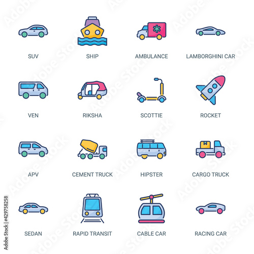 фотография Transportation Filled Icons - Stroked, Vectors