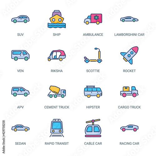Transportation Filled Icons - Stroked, Vectors Wallpaper Mural