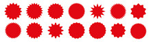 Set Red Star Burst In Retro Style On White Background. Starburst Speech Bubble Round Badge. Stars For Sale Stickers Or Label. Vector Illustration.