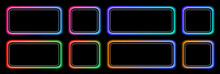 Set Of Buttons Colorful Frames In Neon Colors, Modern Buttons Collection Oval Rectangle Shapes On Black Background, Vector Illustration.