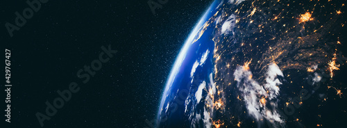 Fotografering Planet earth globe view from space showing realistic earth surface and world map as in outer space point of view