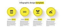 Set Pack Full Of Seeds Of Plant, Chicken Egg In Box, Plant And Farm House. Business Infographic Template. Vector