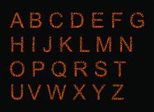 Jaguar Alphabet, Vector Font With Wild Pattern Vector Illustration Isolated On Black Background. Animal Words Print Background, Jaguar Letters Sign. Southern America Wild Animal Predator Skin Symbol.