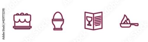 Obraz na plátně Set line Cake, Restaurant cafe menu, Chicken egg on stand and Frying pan icon
