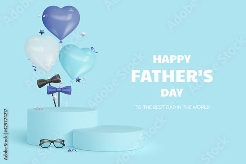 Fotografiet Happy Fathers Day display podium with glasses, bow tie and heart balloons