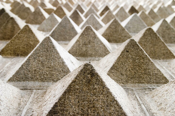 Closeup shot of stone pyramid constructions