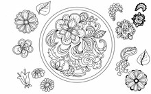 Flowers Leavesgraphic Illustration Hand-drawn Folk Style Composition In A Circle Mandala Pattern Oriental In Uruga Symmetrical Ornament Mehendi Meditation Yoga. Coloring Book For Children And Adults A