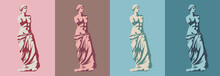 Statue Of Venus De Milo (goddess Of Love) In Four Colors. Styling And Separation Into Light And Shadow. Vector Illustration, EPS 10. The Concept Of Classical Sculpture In The Style Of Pop Art.Isolated