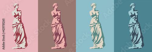 Canvas Print Statue of Venus de Milo (goddess of love) in four colors