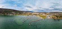 Panoramic Aerial View Over Lake Biel With A View Of The City Of Biel Bienne And The City's Bank And Port. Canton Bern, Switzerland