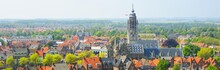 Middelburg City Centre. Panoramic Aerial View. The Netherlands. Traditional Architecture, Cathedral, Red Tiled Roofs. Travel Destinations, Landmarks, Sightseeing, Vacations, History, Culture