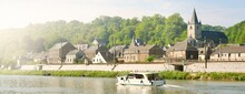 Panoramic View From The Embankment Of Dinant Suburbs, Belgium. Cityscape. Travel Destinations, National Landmarks, Sightseeing, Tourism, Traditional Architecture, History, Culture, Religion