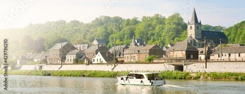 Photo Panoramic view from the embankment of Dinant suburbs, Belgium