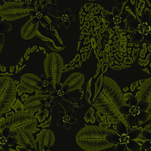 Beautiful Seamless Pattern With Python And Tropical Leaves. Beautiful Allover Print With Hand Drawn Exotic Plants And Snake. Swimwear Botanical Design. Vector