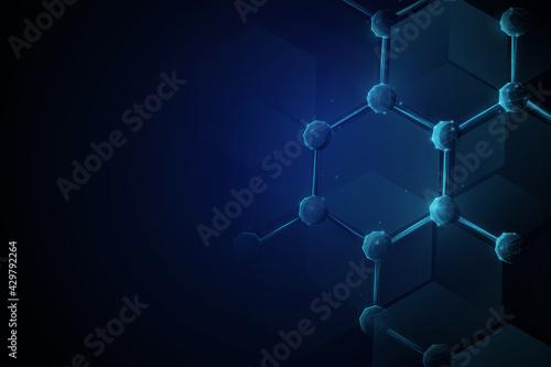 Fototapeta 3d of molecule and atoms model. Medical science and biotechnology background. Vector illustration obraz