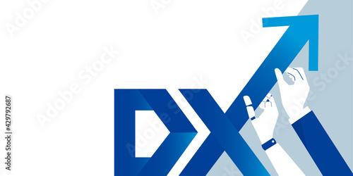 Fotografia DX、ロボットとビジネスマンの手、上昇する矢印のイラスト、テキストスペース、ベクター素材