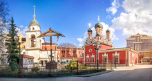 Church Of George In Endova, A Wooden Cross And A Bell Tower In Moscow