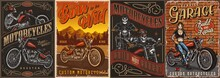 Motorcycle Vintage Colorful Posters Set