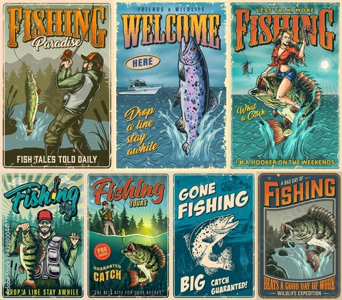 Canvas-taulu Fishing vintage posters composition