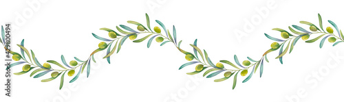 Stampa su Tela Watercolor olive border for decoration, print, floral design