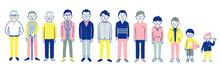 いろいろな世代の男性 全身 セット