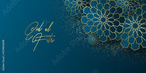 Stampa su Tela Ramadan kareem greeting card design template for invitation, banner, poster with lamp, crescent, calligraphy