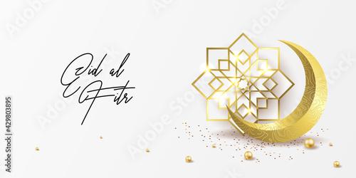 Fotografija Ramadan kareem greeting card design template for invitation, banner, poster with lamp, crescent, calligraphy