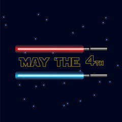 May The 4th Be With You. Vector illustration with glowing swords and stars.