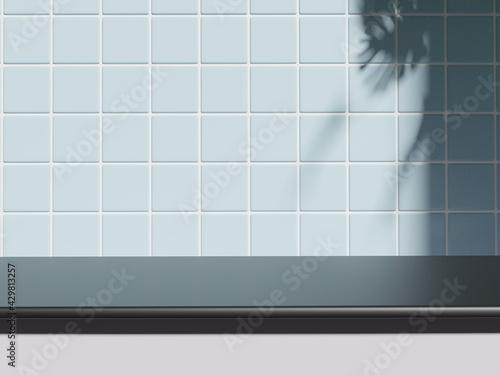 Billede på lærred Shelf at ceramic tile wall background, Mock up for display or montage of product or design