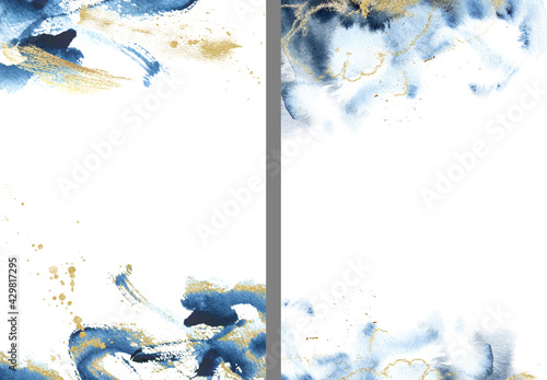Photo Gold, pink and navy blue watercolor texture design