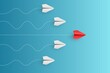 Individual red leader paper plane lead other. Business and leadership concept. Vector