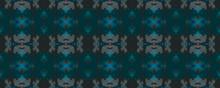 Ikat Borders. Green Digital Geometric Painting.