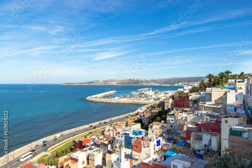 Fototapeta Beautiful top view of the Strait of Gibraltar and residential houses on the moun