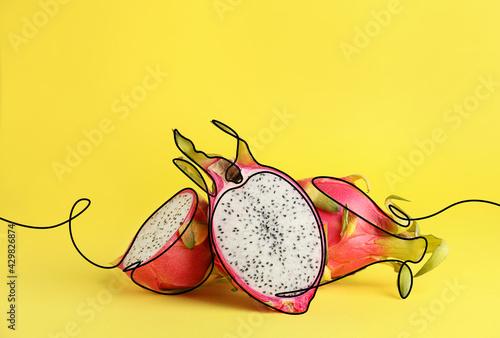 Tasty dragon fruit on color background
