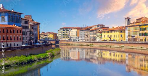 Pisa city downtown skyline cityscape in Italy - fototapety na wymiar