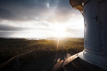 View From Lookout Platform At Lighthouse On Landscape At North Sea.